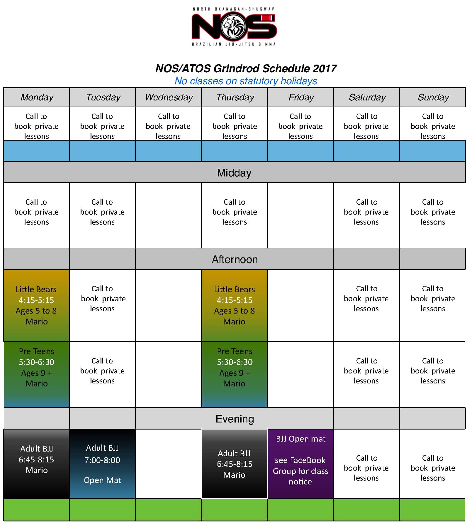 NOS Brazilian Jiu Jitsu Grindrod BC 2018 Schedule